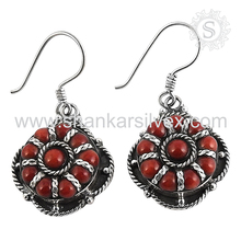 Antique fashion design silver earring 925 sterling silver coral gemstone jewelry manufacturing jaipur