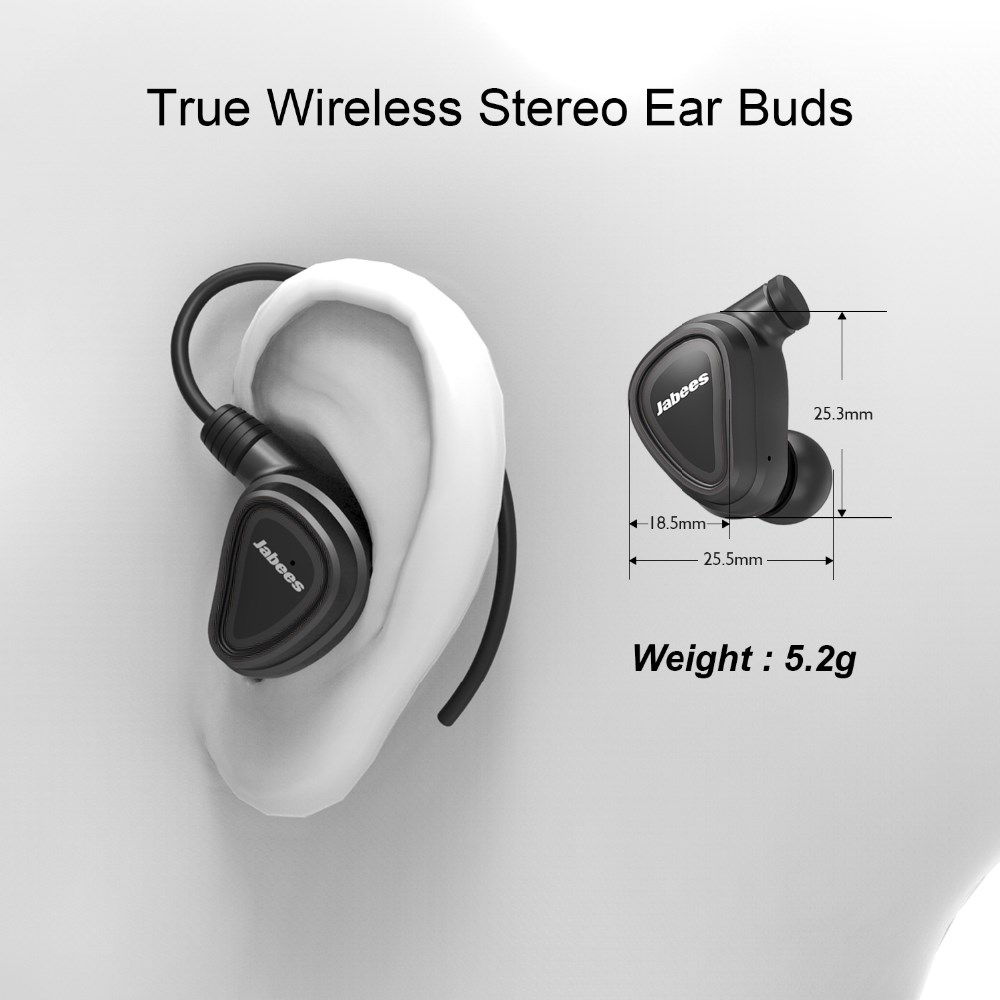 2017 New Products Jabees Brand Earhook Style TWS Earphone, Bluetooth Stereo Headphone Without Wire