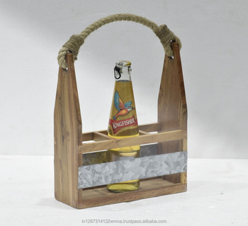 Natural wood 3 bottle beer caddy with rope handle