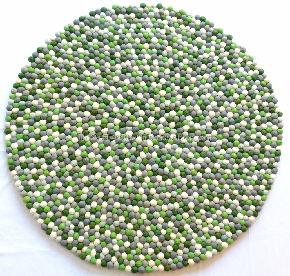 Felt ball Rug-Hand Made Carpets in Nepal- Manufacturer- whole seller- 100 percent New-Zealand Imported Wool