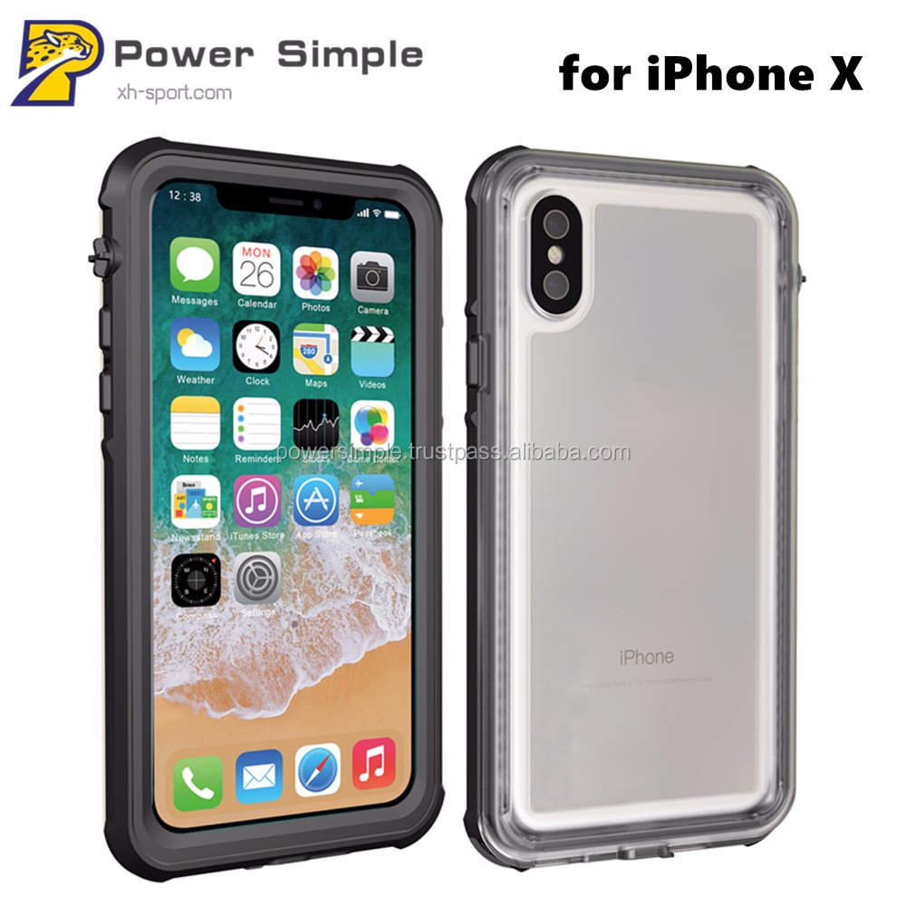 New Black Waterproof IP68 Phone Case for iPhone X, for iPhone X Waterproof Protective Case Cover