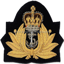 ROYAL NAVY CAP BADGE WITH KINGS CROWN/Hand embroidery custom cap badge /Navy Gold bullion cap badge