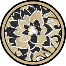 Round Medallion Floral Black White Table Top