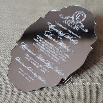 Mirror Acrylic Invitation Silver Mirrored Acrylic Invitations Mirror Acrylic Wedding Invitation
