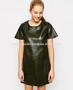 2017 Promotion Price Bandage Women Dress Sexy Club Faux leather Dress,Short Sleeve Shift Cheap Dress in Leather Look,