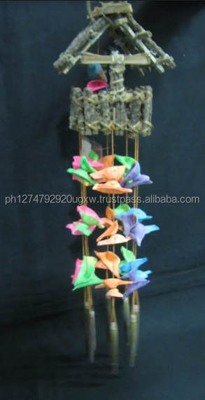 Mini Birdcage philippine chandelier with coconut twigs and assorted colored seashells