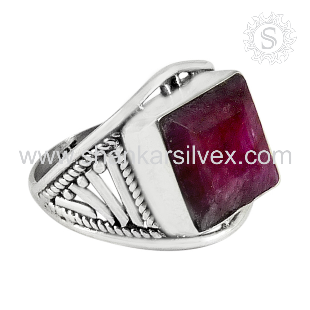 Ruby gemstone engagement silver ring 925 sterling silver ring jewelry wholesale price supplier