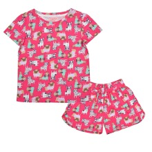 Crayonflakes Kids Wear For Girls Printed Knit Night Suit Sleep Set