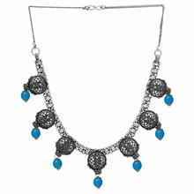 Aqua Color Imitation Pearl Oxidised Traditional Necklace