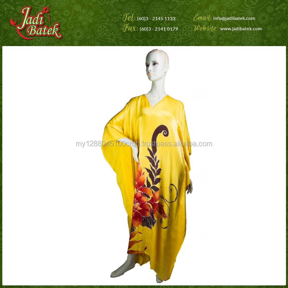 [Jadi Batek] New Flower Design Batik Kaftan for Woman Printed Beach dress made in Malaysia