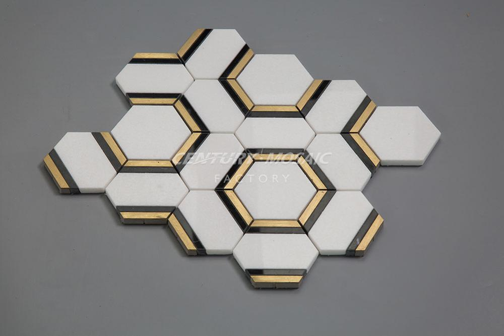 China Suppliers Century Mosaic Modern Home Decoration Hexagon Marble Mosaic
