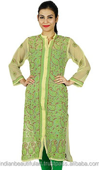 Chikan Embroidered Georgette Kurti