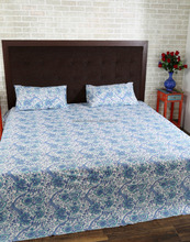 Jaipuri Full Size Handmade Cotton Block Printed Floral Bedsheet And Bed Cover