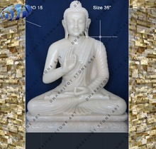 white marble lord buddha with back square plate