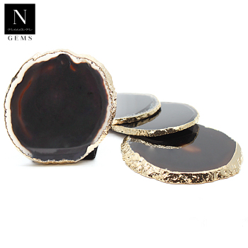Druzy geode slices rocks healing crystals tableware housewarming gift irregular glass black agate coasters