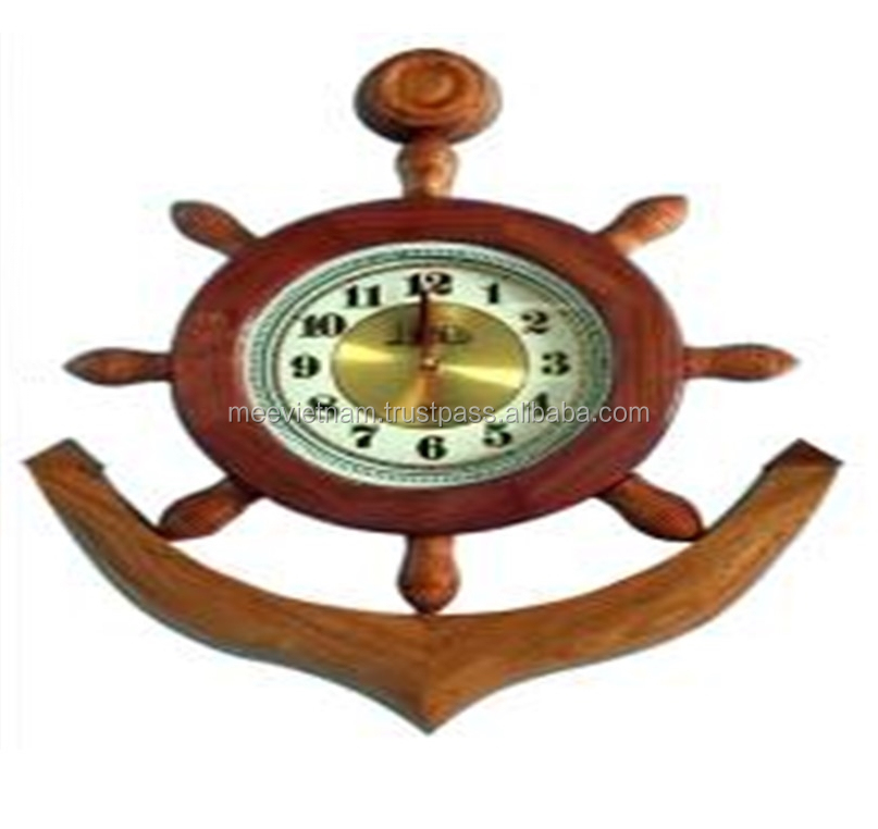 STEERING WHEEL WITH CLOCK, UNIQUE CRAFT OF VIETNAM - WOODEN HANDICRAFT PRODUCT FOR HOME DECORATION