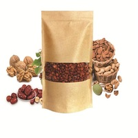Stand Up Ziplock Brown Kraft Paper Heat Seal Food Storage Bag With Round Clear Window Coffee Bath Salt Packaging Pouch