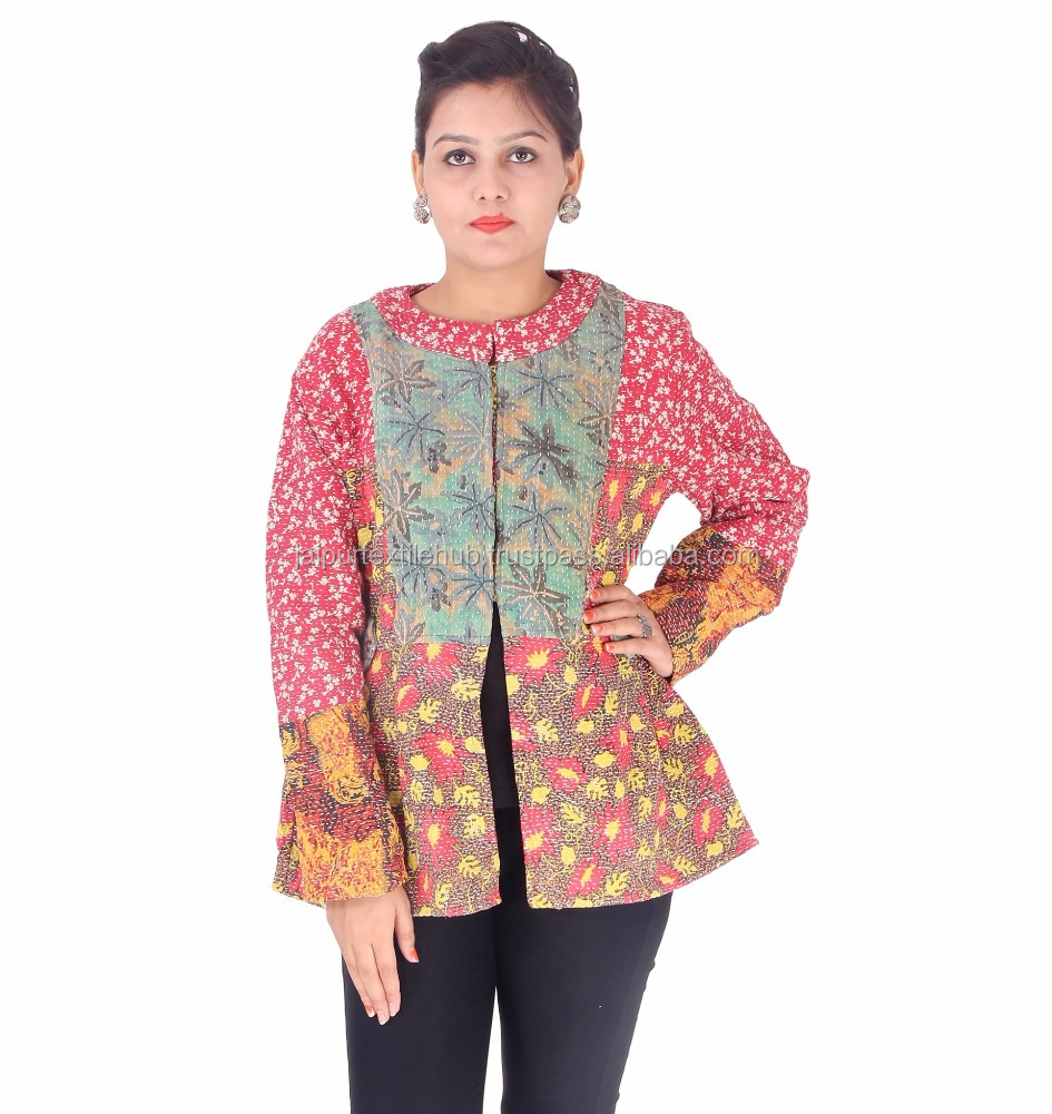 Washable handmade made in india kantha warm jacket for women