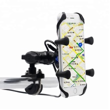 Universal Motorcycle Bike Handlebar Mounted <strong>Mobile</strong> <strong>Phone</strong> Holder With USB Charger For 3.5-6 Inch Cell <strong>Phone</strong>