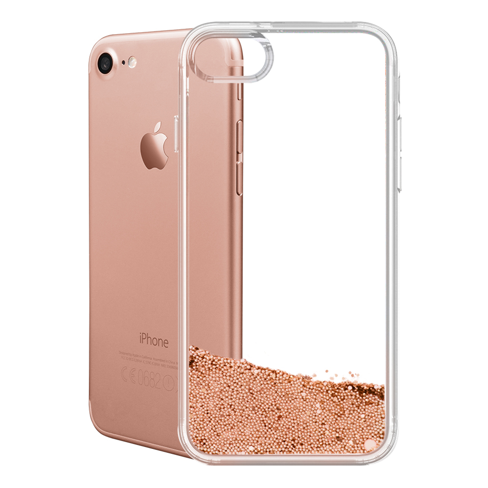 Best Selling Mobile Phone Clear Transparent TPU Wallet Case for iPhone 8 7 6s 6 Plus with Gold Liquid Glitter Wholesale