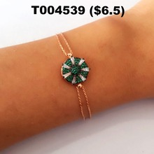 Wholesale Handmade Green CZ Zirconia Fashion Bracelet, Rose Gold-Plated 925 Sterling Bracelet Silver Jewelry