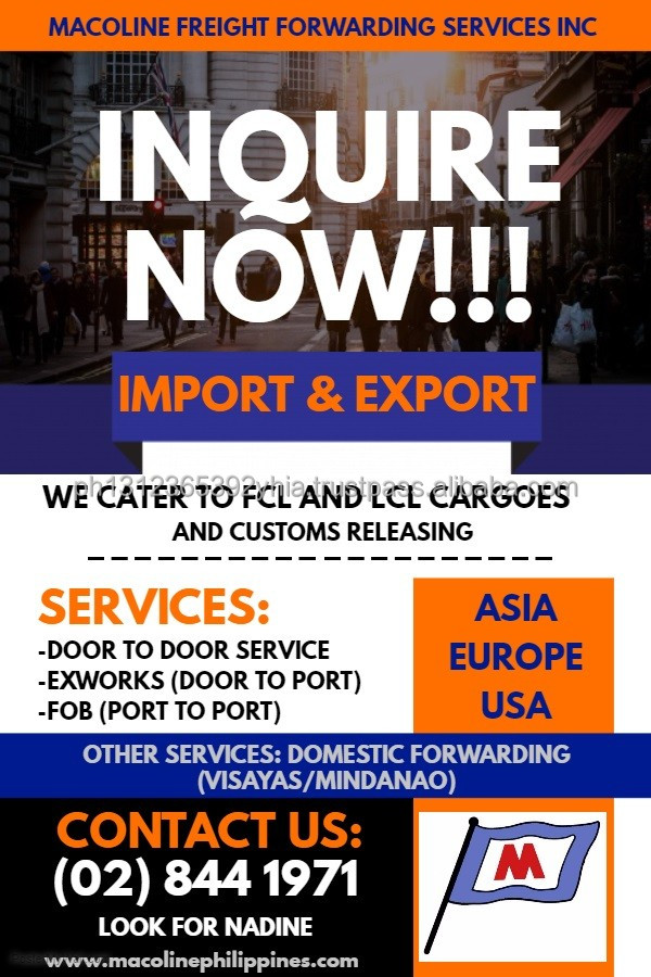 EXPORT IMPORT SHIPPING- READY RATES AVAILABLE- PHILIPPINES TO USA, CHINA, EUROPE, MIDDLE EAST VIA SEA AND AIR