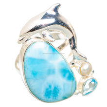 925 Solid Sterling Silver Large Larimar Dolphin, Blue Topaz, Pearl Ring