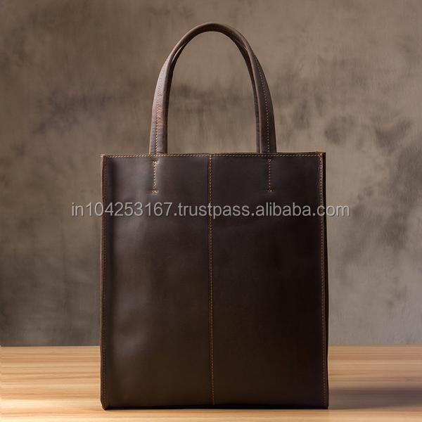 Crazy horse leather ladies bag made in india