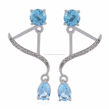 Handmade 925 Sterling Silver 2.33ct Topaz Designer Ear Jacket For Women Jewelry