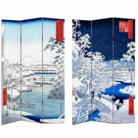 TRADITIONAL JANPANESE STYLE DECORATIVE CANVAS & WOODEN SCREEN & ROOM DIVIDERS UKIYO-E PATTERN PRINTING