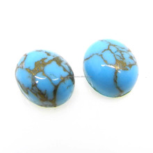 Tibetan mohave copper turquoise semi precious 12x10mm oval cabochon 4.90 cts loose gemstone for jewelry