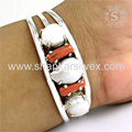 Graceful design pearl, coral gemstone bangle silver jewellery 925 sterling silver jewelry wholesale