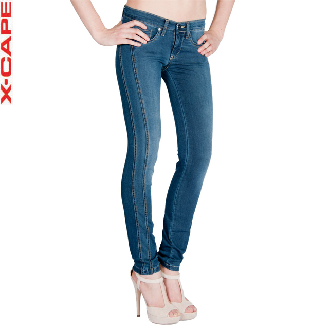 Made in Italy - Skinny Fit Jeans Woman Blue Denim with lateral side bands - Low Waist model HALLY