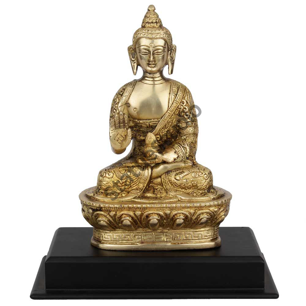 Buddha Brass Sitting Corporate Diwali Wedding GIft statue On Wooden Base 7""