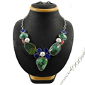 Resplendent multi gemstone necklace for women 925 sterling silver necklaces handmade jewelry exporter