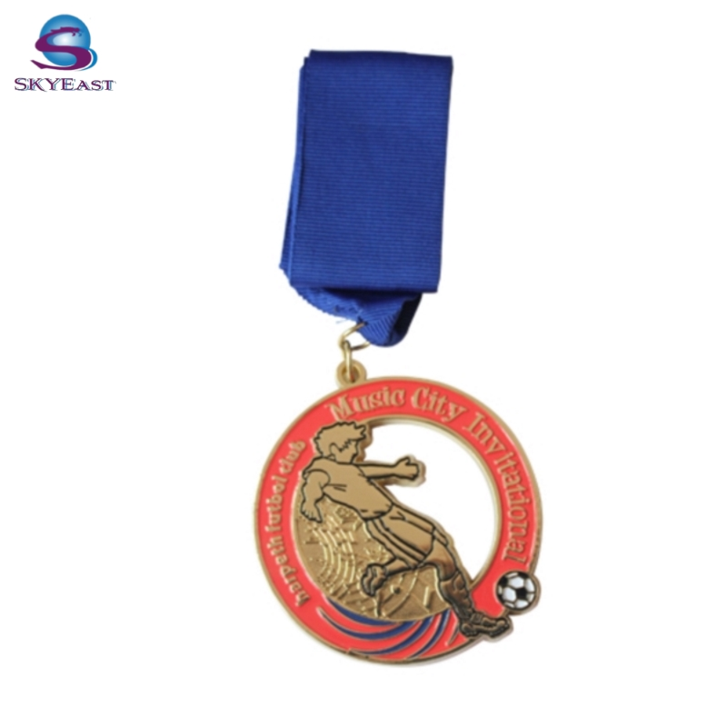 High Quality Painted and Enameled Metal Sport Medallions with Lanyard