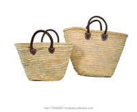 summer straw bag Handmade with leather handles