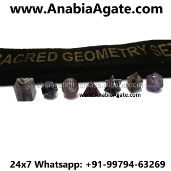 Amethyst Geometry Set With Velvet Purse With AAA Quality : Platonic Solid Crystal Set