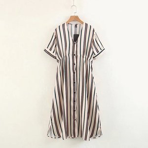 Casual summer clothes wild style V-neck striped single-breasted clothing dress