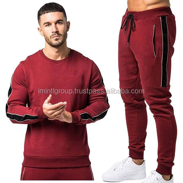 Men fashionable fit body gym style fleece sweatshirt and jogger top bottom fleece suit IM.3424