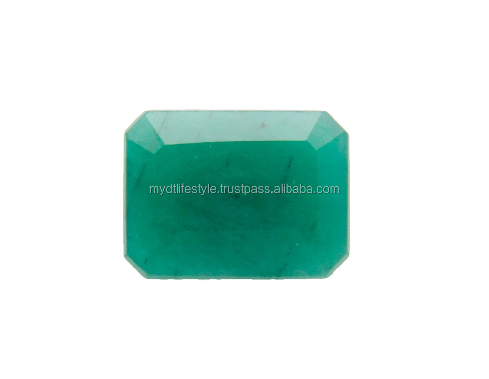 natural emerald gemstone octogan shape faceted cut green color loose stone