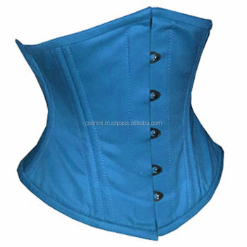 Teal Cotton Waspie Waist Training Corsets With Double Steelboned Supplier