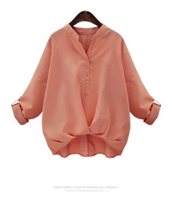 New Plain Blouses Autumn Blouses Female Long Shirts Women Casual Mandarin collar Loose Blouses Oversize