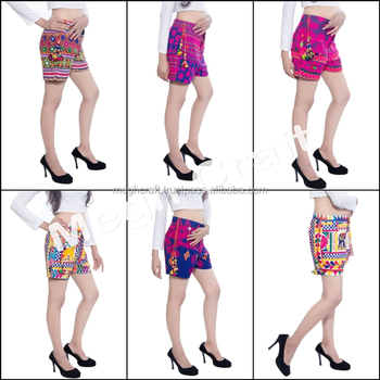 BOLLYWOOD FASHION SHORT -KUTCH EMBROIDERED BOHO SHORTS-BOHEMIAN EMBROIDERED SHORTS