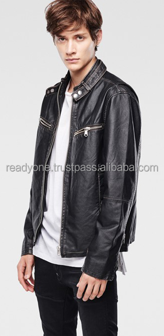 leather fabric wholesell PU jacket for men russia style Fob price