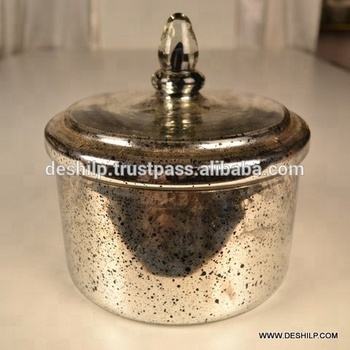 GLASS JAR & CANISTERS ,SILVER GLASS JAR WITH SILVER JAR CAP