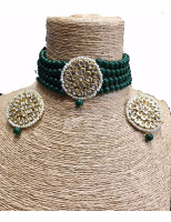 Green beaded onyx kundan choker necklace set with earrings