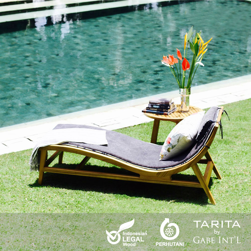Vintage contemporary chaise lounge solid teak wood and slatted body ideal for outdoor and patio living style