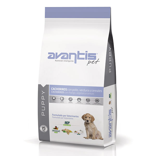 Dog food with chicken, vegetables and cereals. Puppy food