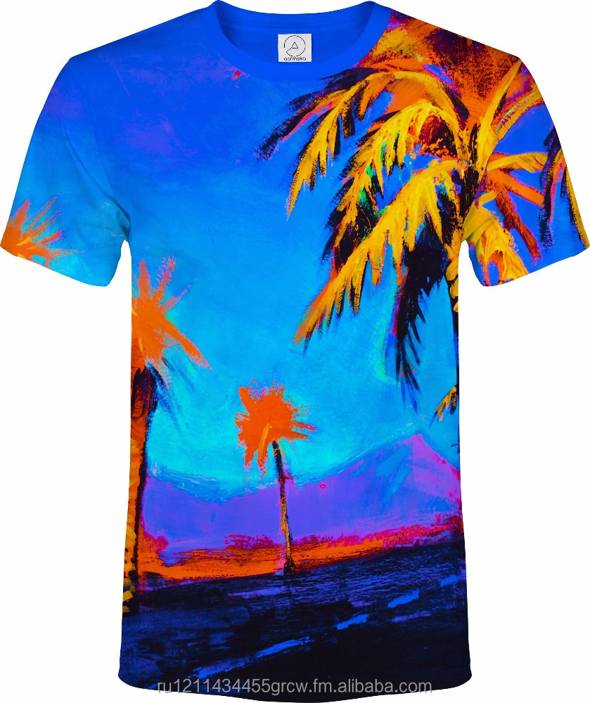 Hawai Palm Trees Paradise Blue Calm Orange Vacation Fluorescent Neon Blacklight Reactive T-Shirt